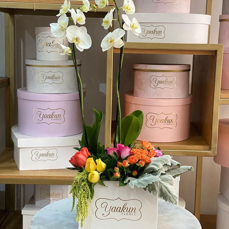 12 rosas y orquídeas en caja blanca yaakun