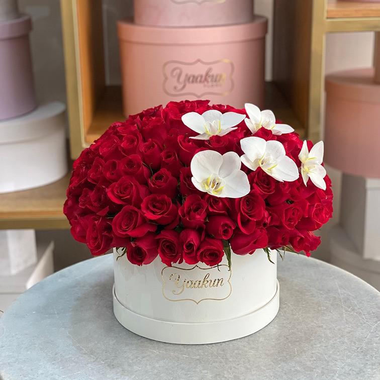 120 rosas en caja redonda con orquídeas esfera lindo amor