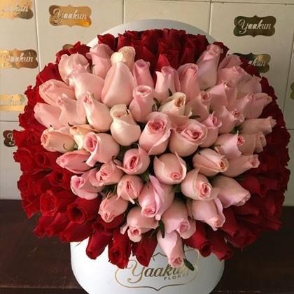 150 rosas en caja redonda mi corazón rosa