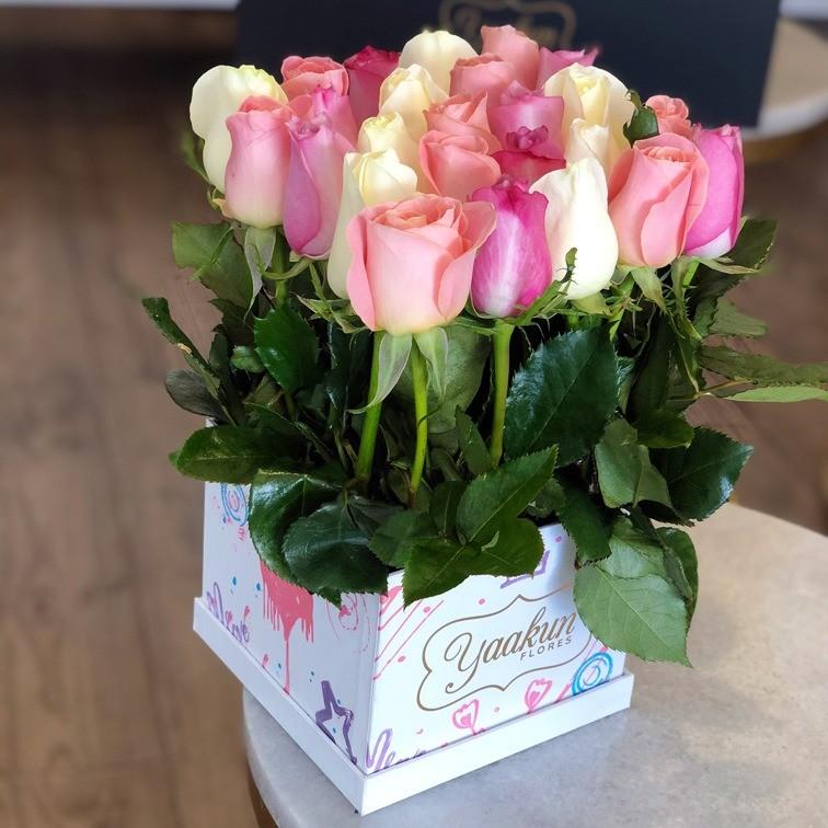 25 rosas pastel altas en caja edición especial yaakun