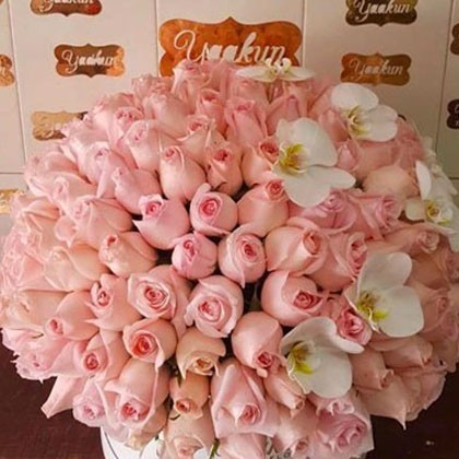 350 rosas en caja redonda con orquídeas esfera sweet phalen