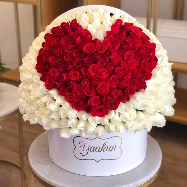 350 rosas en caja redonda mi corazón rojo