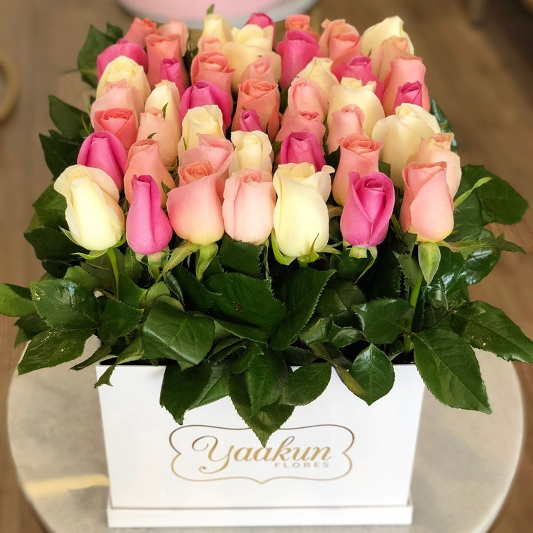 49 rosas altas te quiero en caja blanca yaakun