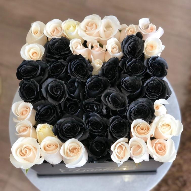 49 rosas black love en caja