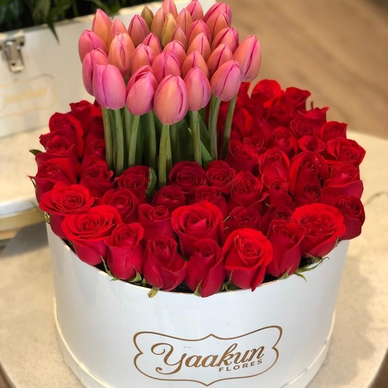 50 rosas & 30 tulipanes en caja redonda ilusión