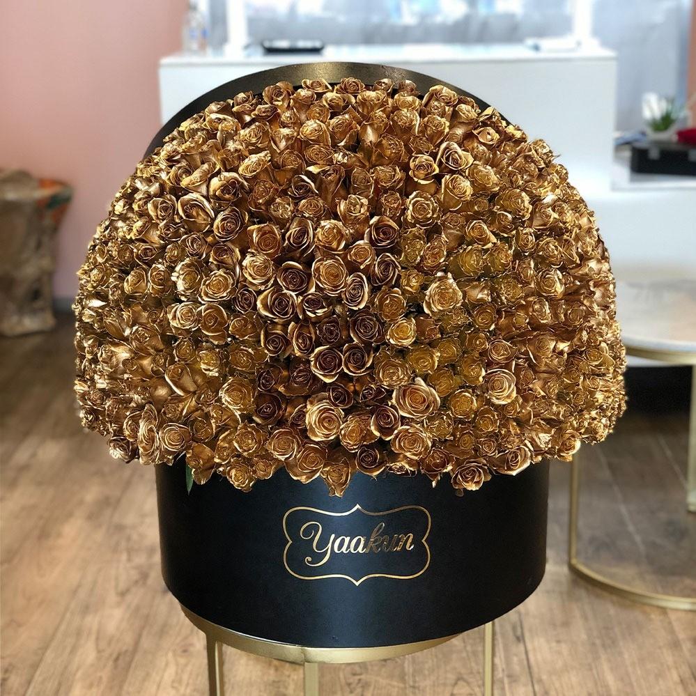 500 rosas doradas en caja redonda maxi esfera gold
