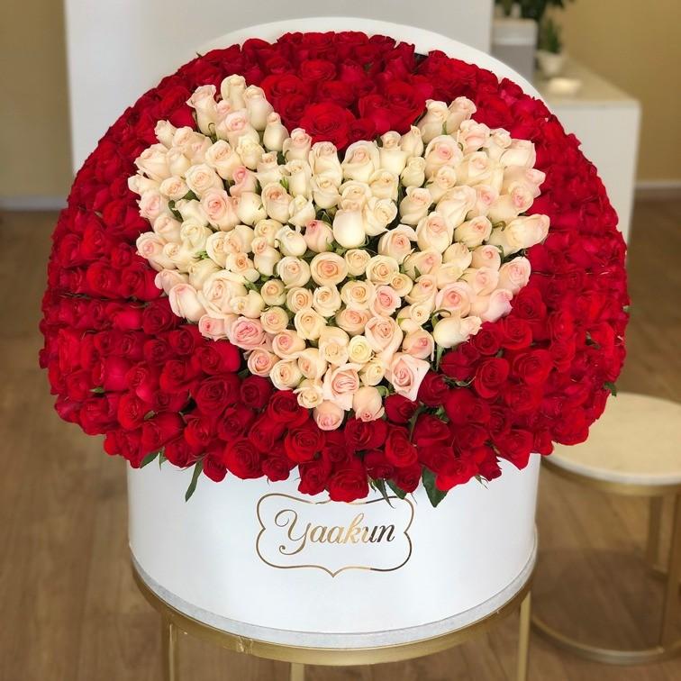 500 rosas en caja redonda maxi esfera mi corazón blanco