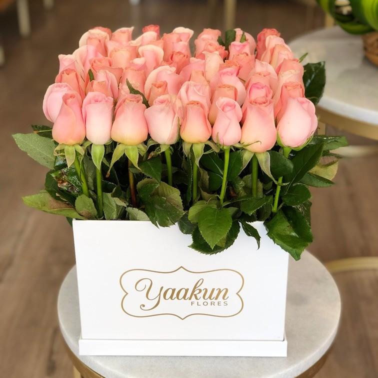 65 rosas altas en caja blanca yaakunjardín hermosa