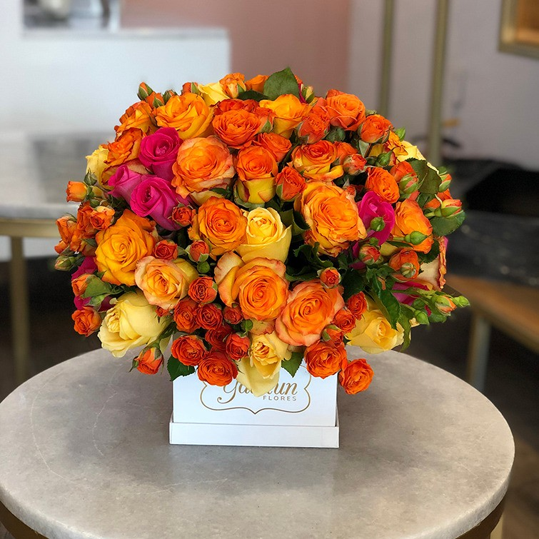 75 rosas en mini caja blanca puesta de sol