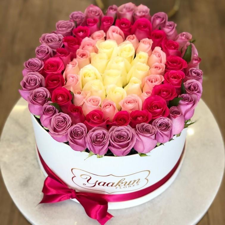 85 rosas en caja redonda botón degrade