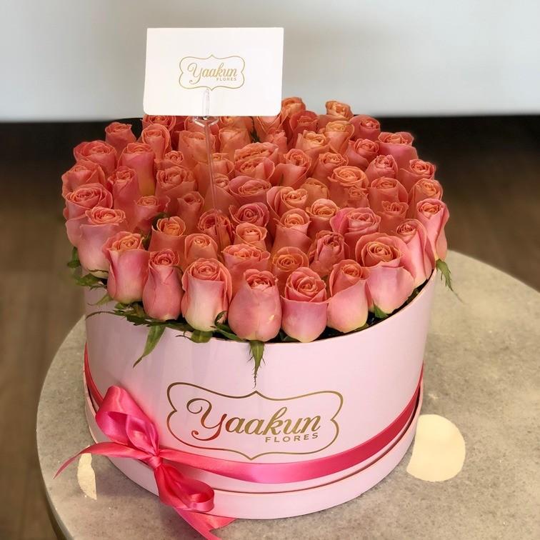 85 rosas en caja redonda botón ternura hermosa