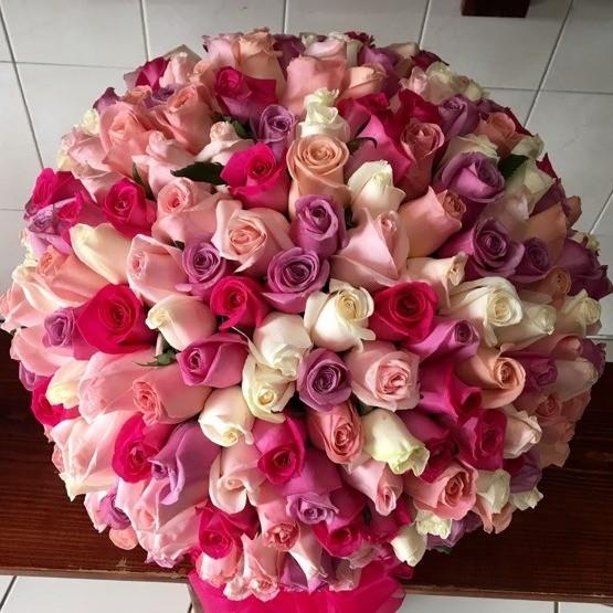 Canasta de 300 rosas esfera color