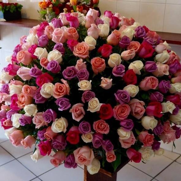 Canasta de 400 rosas esfera color