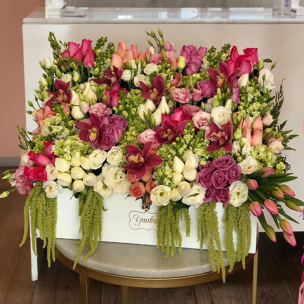 Cofre grande de flores finas