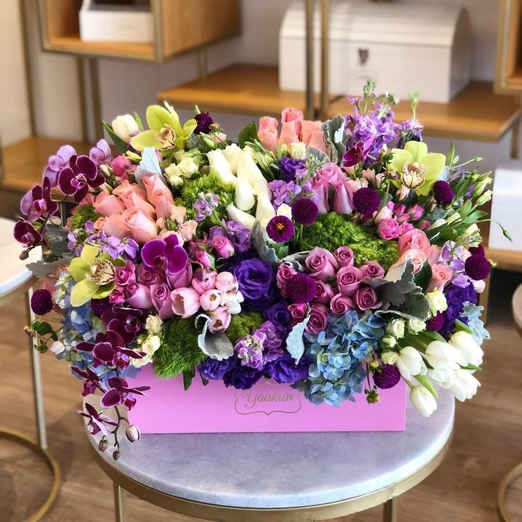 Cofre pink con flores finas