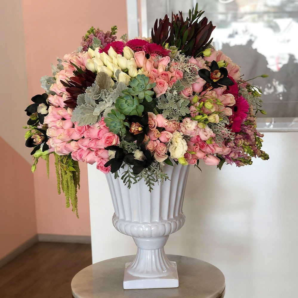 Copa con flores finas