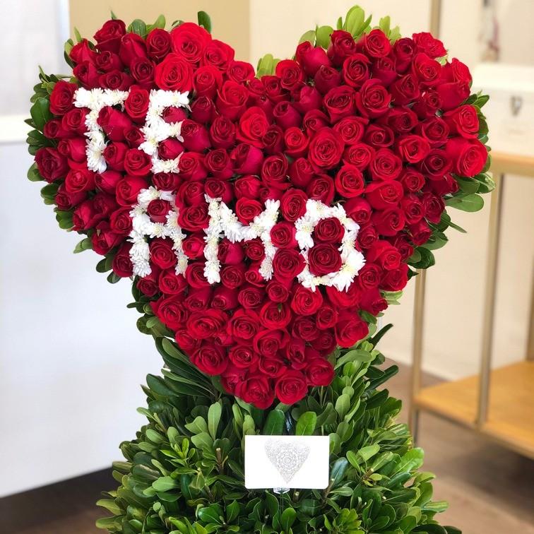 CorazÓn de 150 rosas en canastacorazÓn te amo