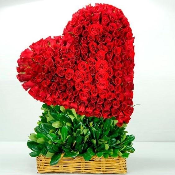 CorazÓn de 200 rosas en canasta corazÓn rojo inclinado
