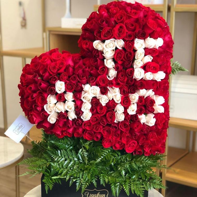 Corazón de 250 rosas corazón inclinado te amo