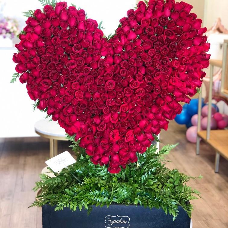 Corazón de 300 rosas en caja negra