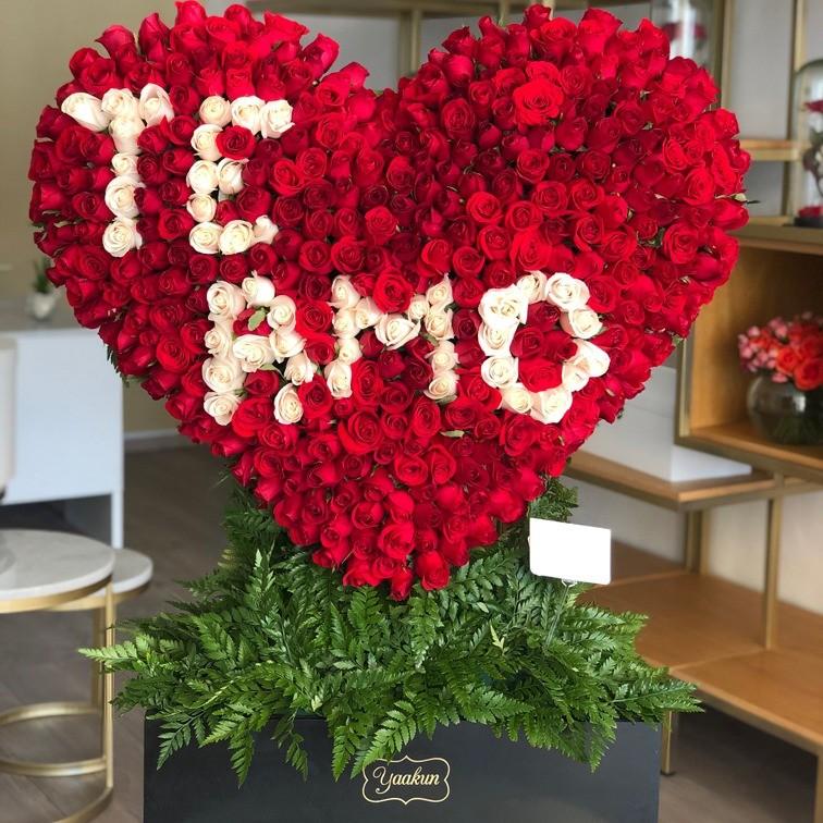 Corazón de 400 rosas corazón te amo