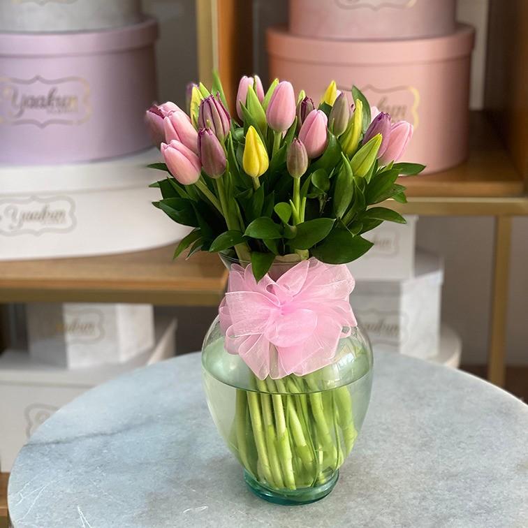 Florero con 30 tulipanes rosa & amarillo