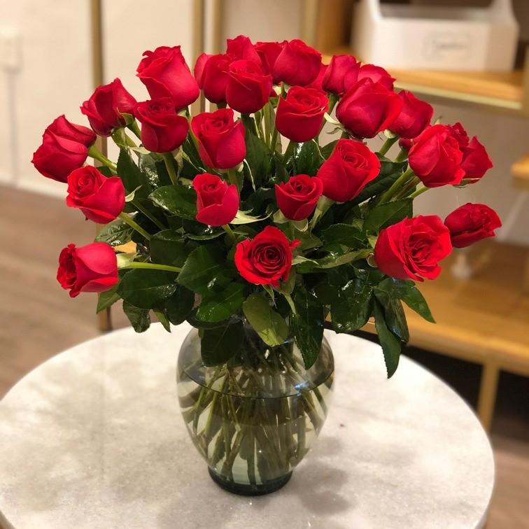 Florero con 36 rosas amor mío