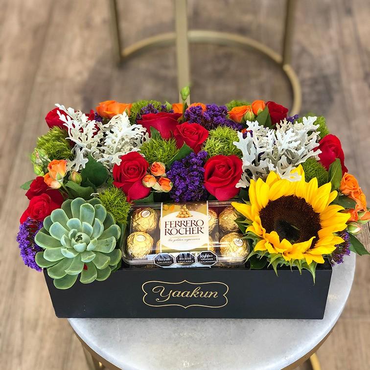 Flores & chocolates en caja mini yaakun primaveraferrero