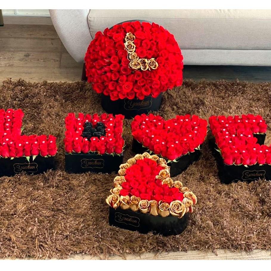 Juego de 6 cajas de rosas love