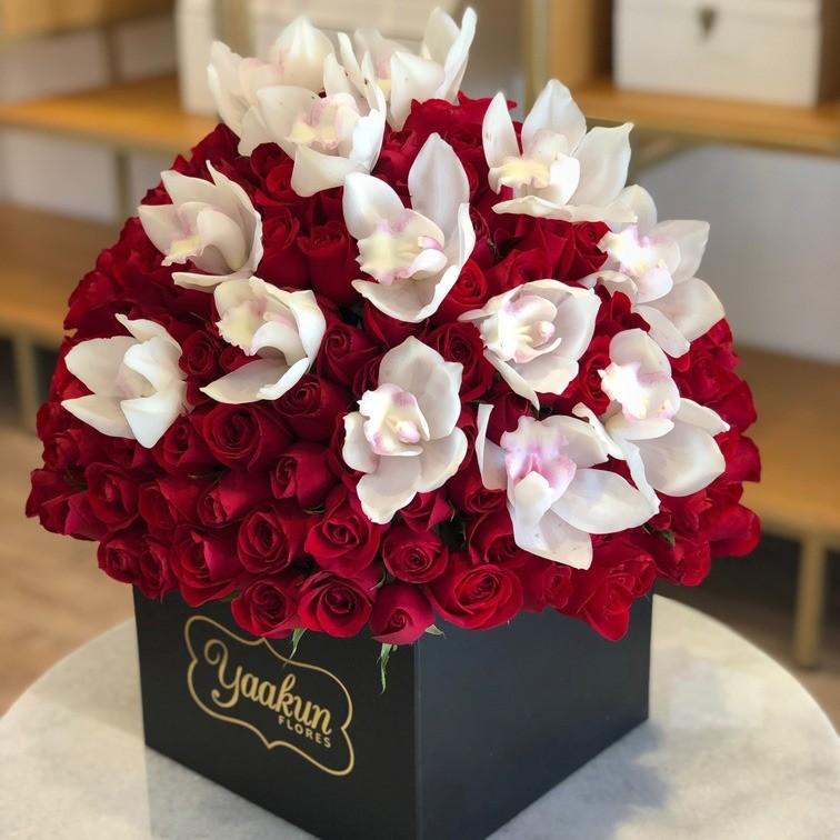 Media esfera de rosas & orquídeas en caja yaakun especial cymbidium