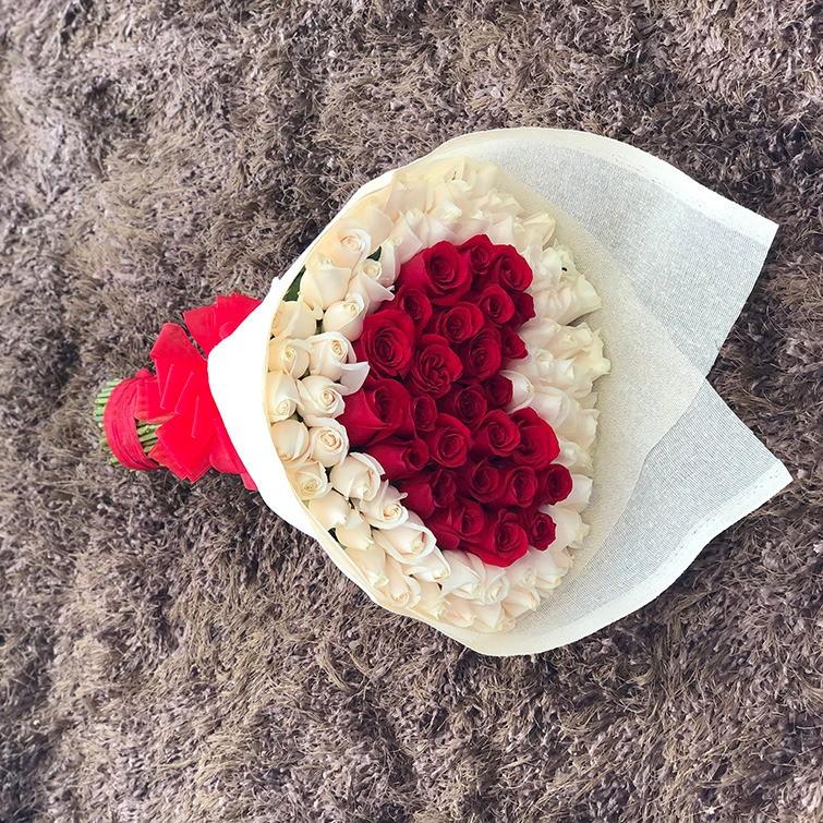 Ramo de 100 rosas corazón rojo mi corazón es tuyo