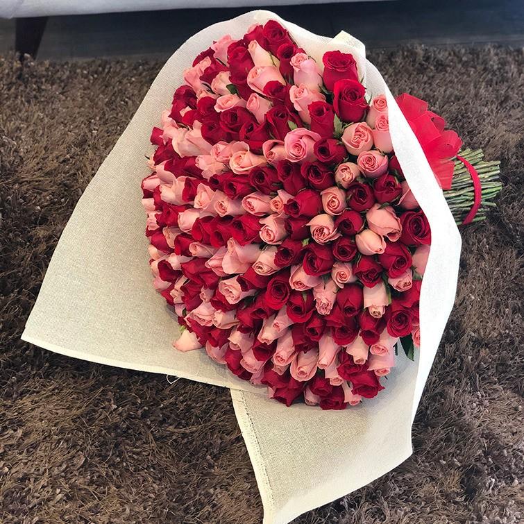 Ramo de 200 rosas pink & red