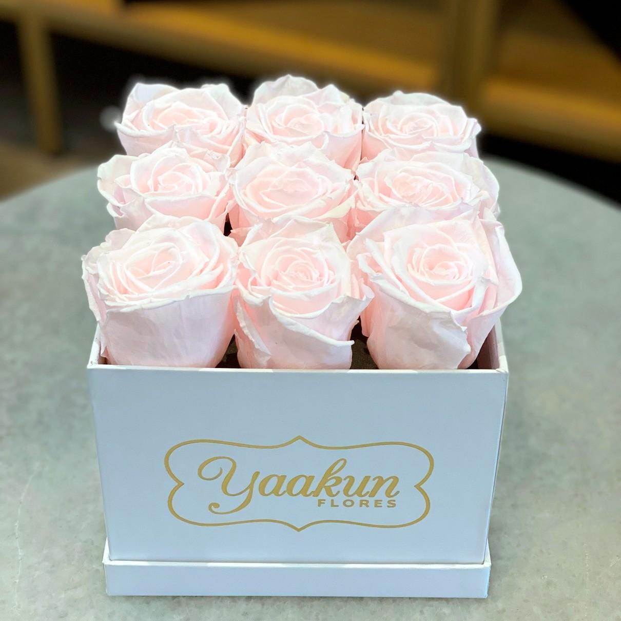 Rosas eternas caja cuadrada chica pink