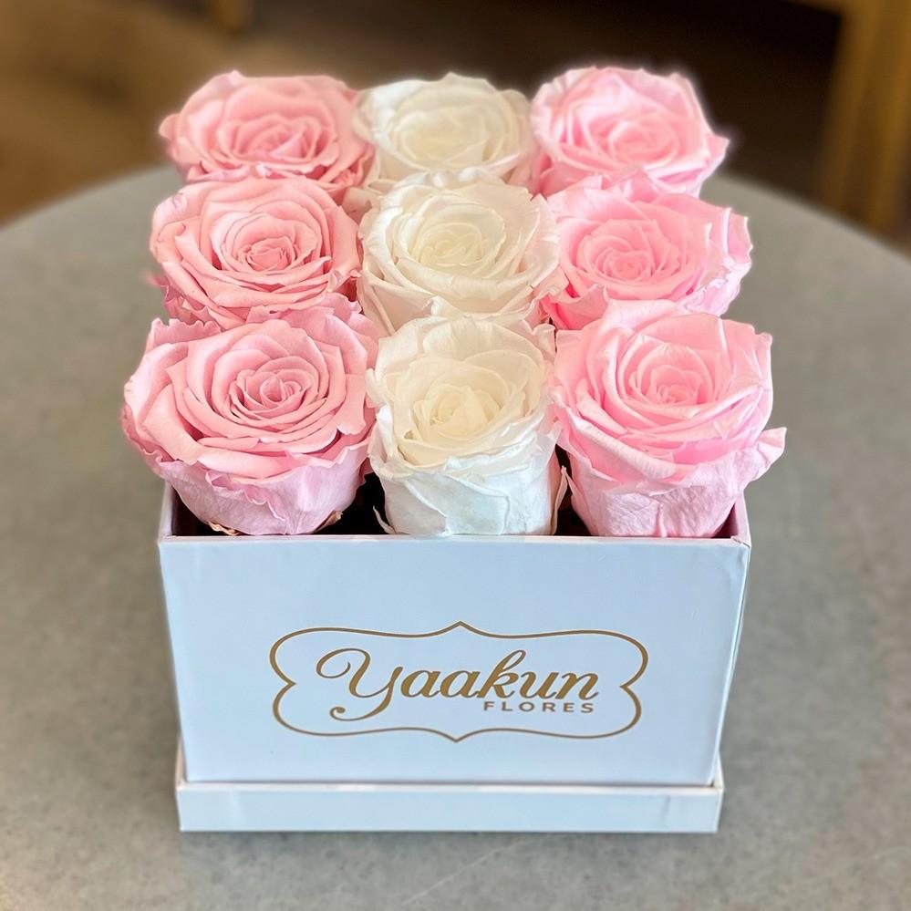 Rosas eternas en caja chica trío color