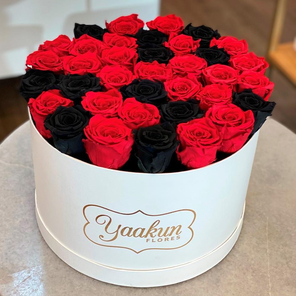 Rosas eternas en caja circular black and red