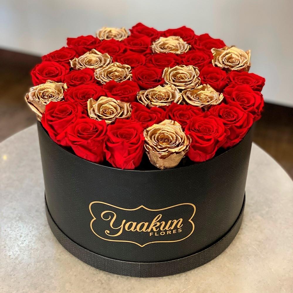 Rosas eternas en caja circular negra red and gold