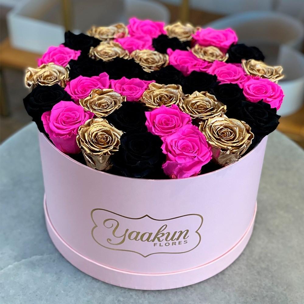 Rosas eternas en caja circular rosa fuchsia, gold and black