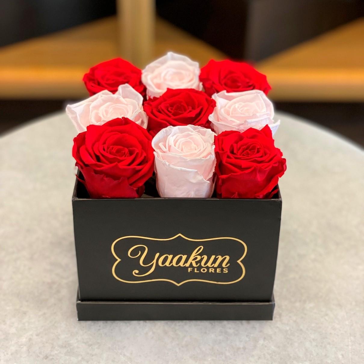 Rosas eternas en caja cuadrada chica pink & red