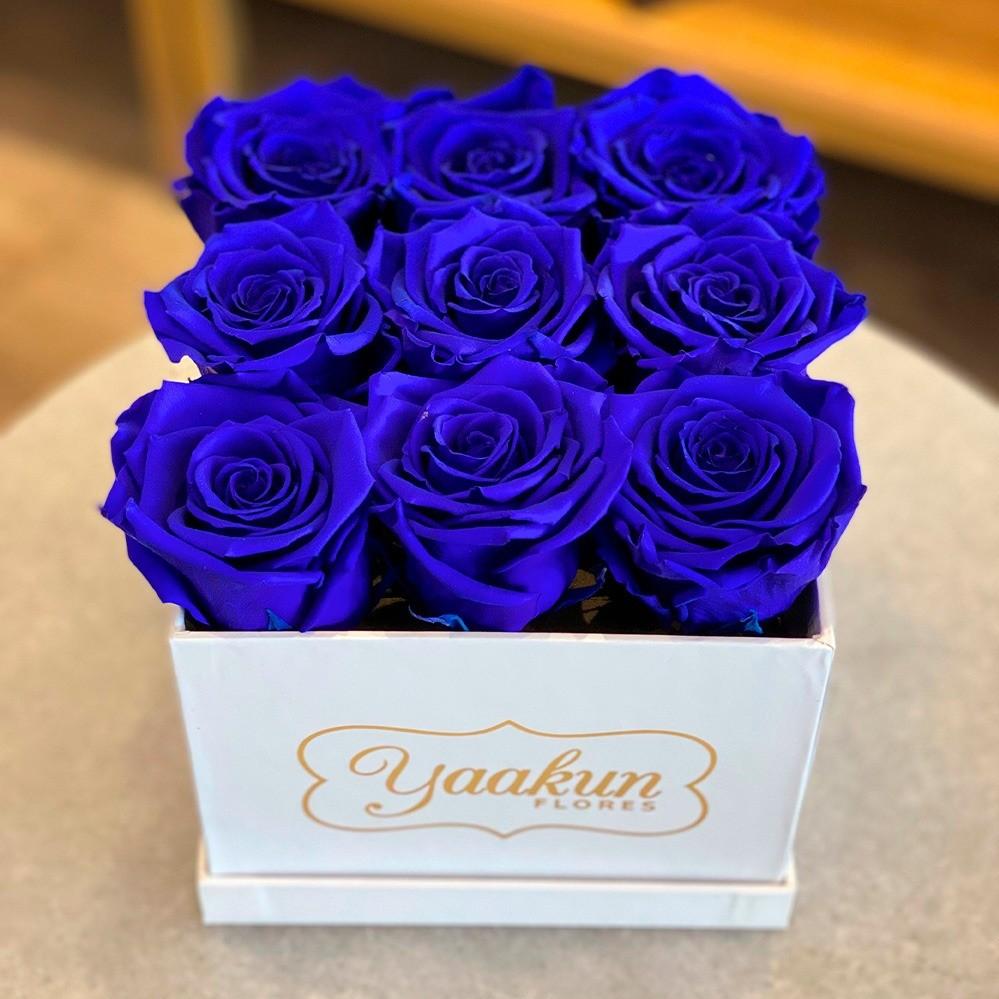 Rosas eternas en caja cuadrada chica rosas azules