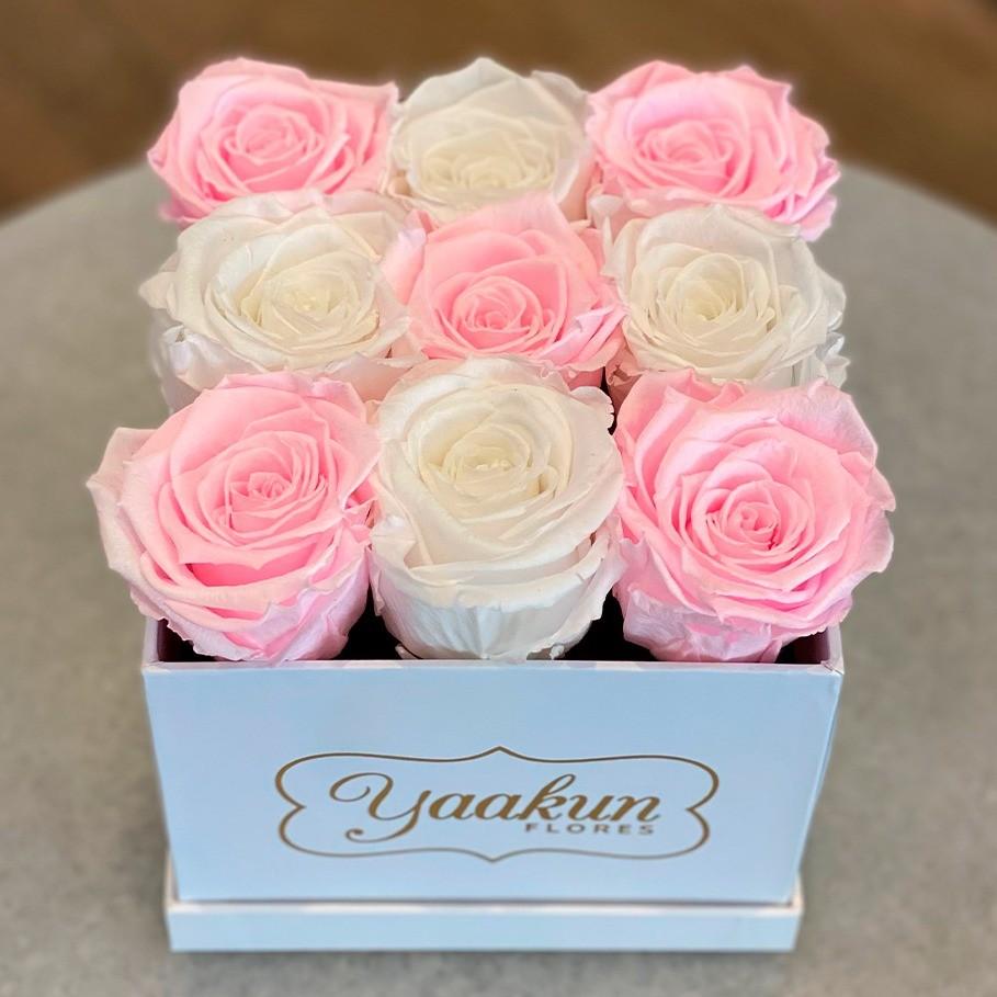 Rosas eternas en caja cuadrada chica tierno amor