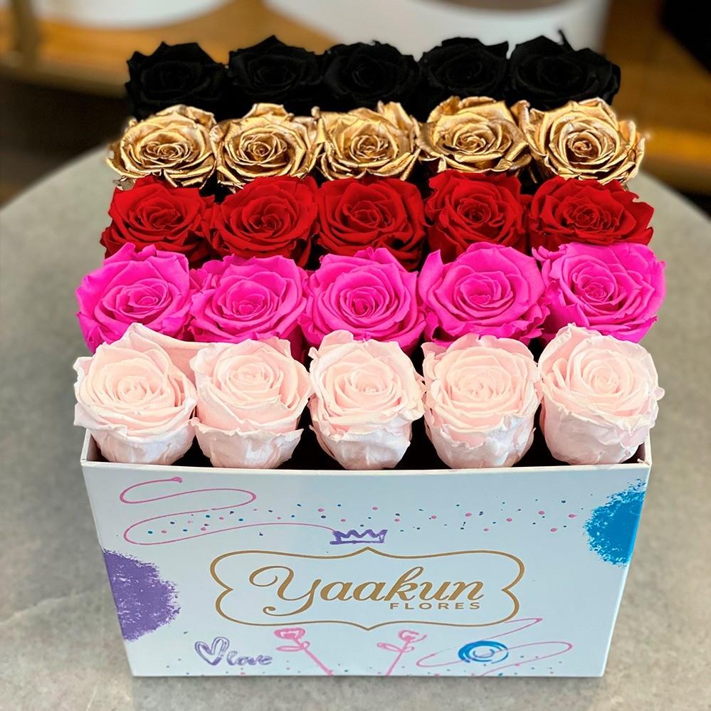 Rosas eternas en caja cuadrada edición especial fuchsia, pink and black