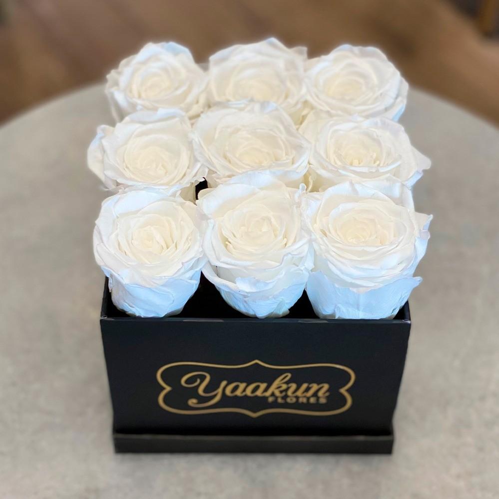 Rosas eternas en caja cuadrada negra chica rosas blancas