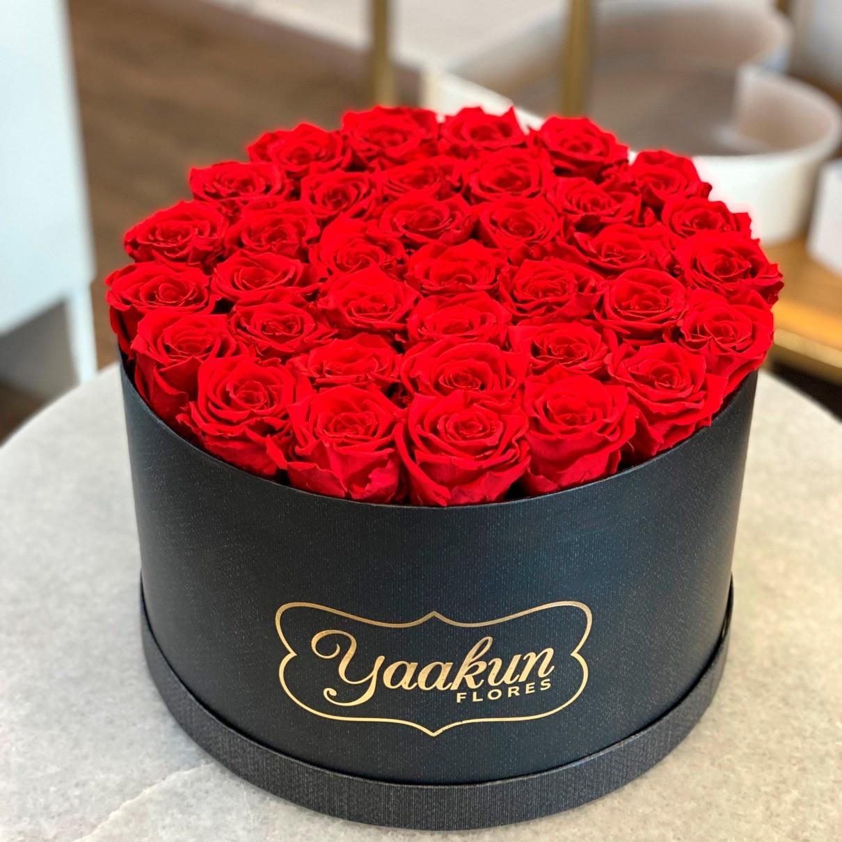 Rosas eternas en caja negra circular rosas rojas