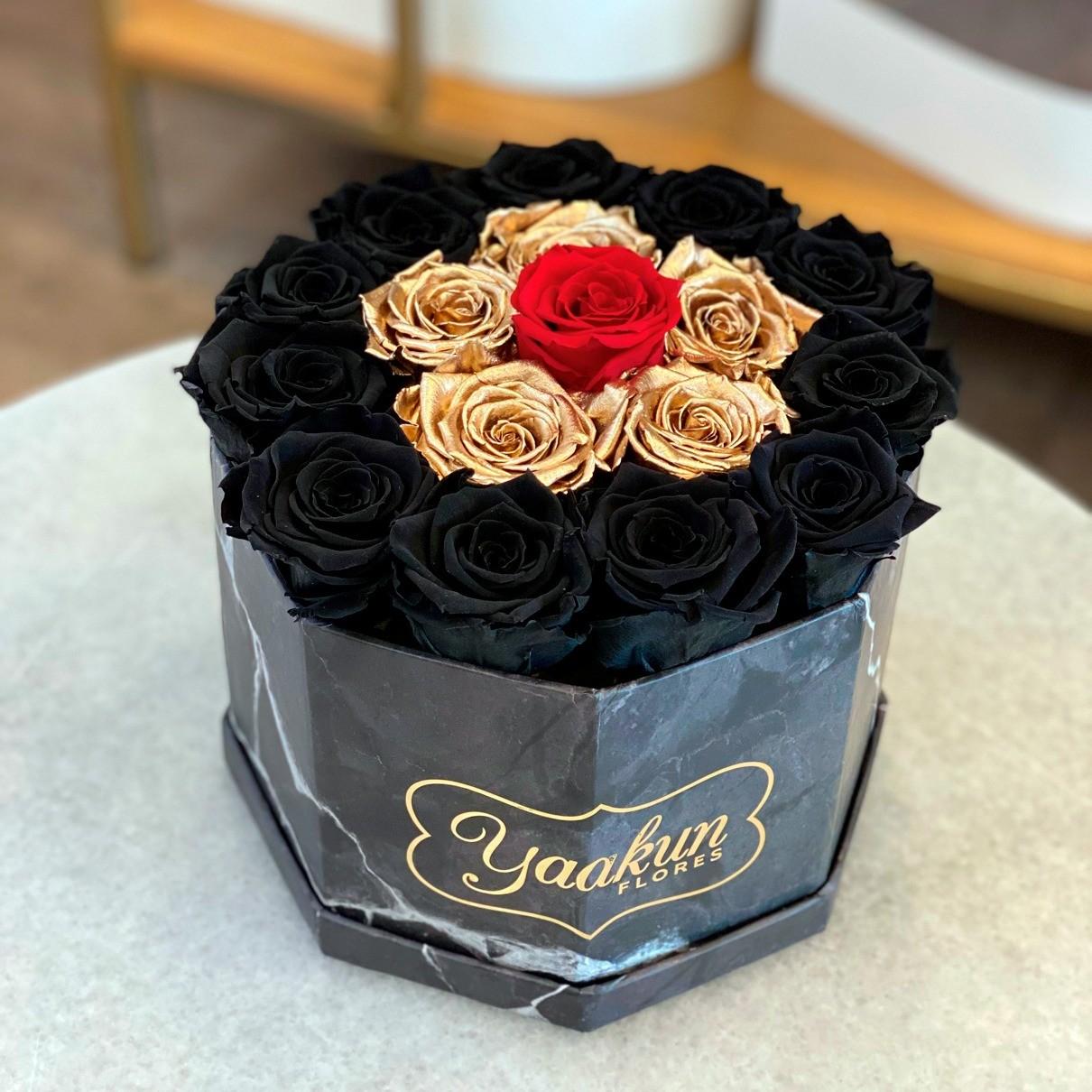 Rosas eternas en caja octagonal black, gold & red