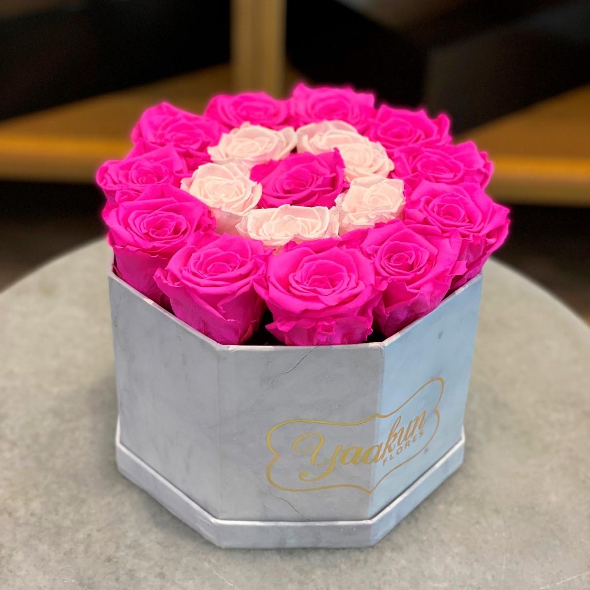 Rosas eternas en caja octagonal encanto pink