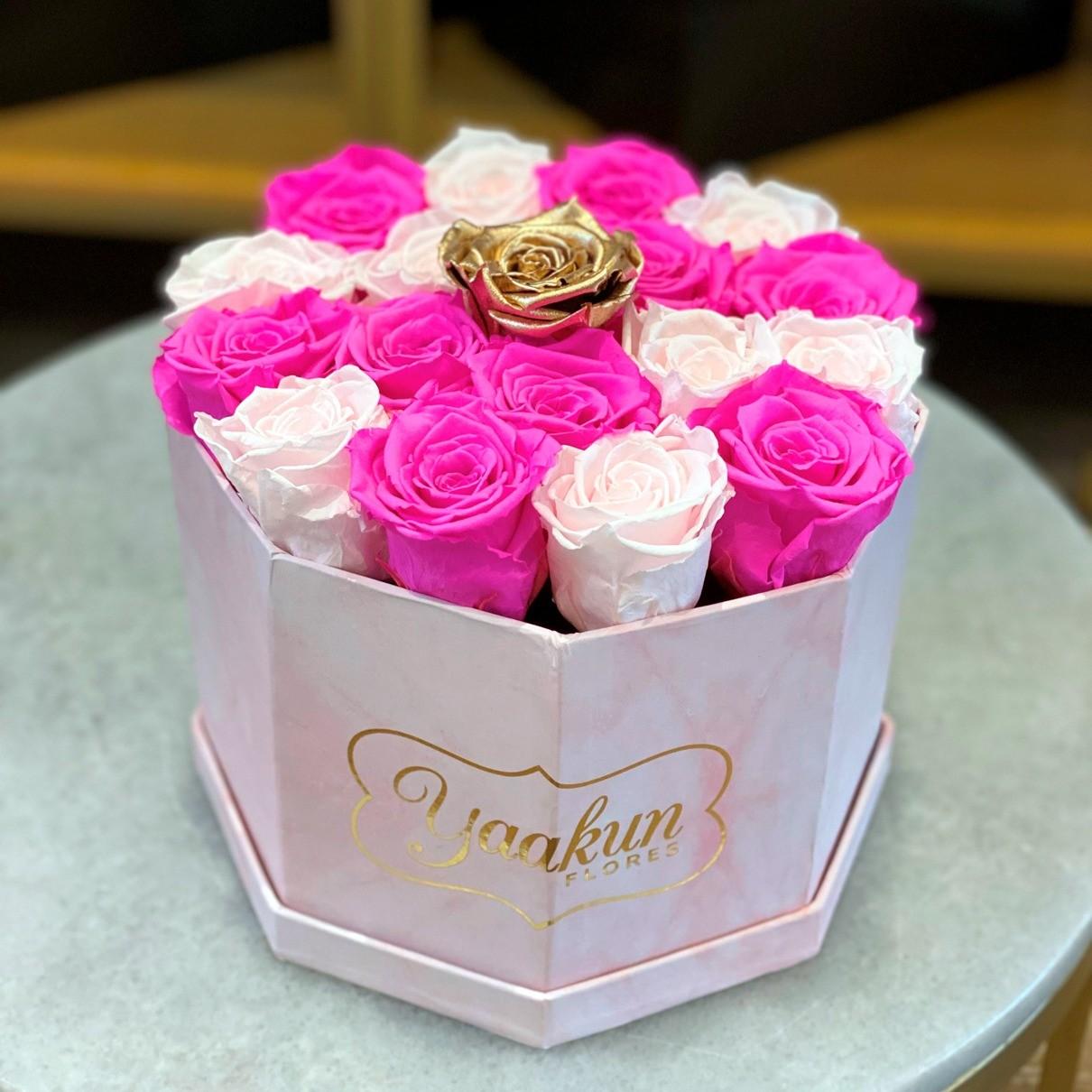 Rosas eternas en caja octagonal pink gold