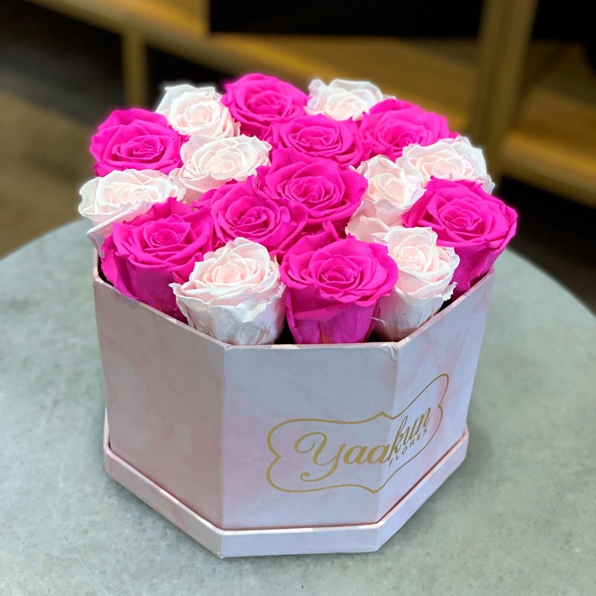 Rosas eternas en caja octagonal pink roses