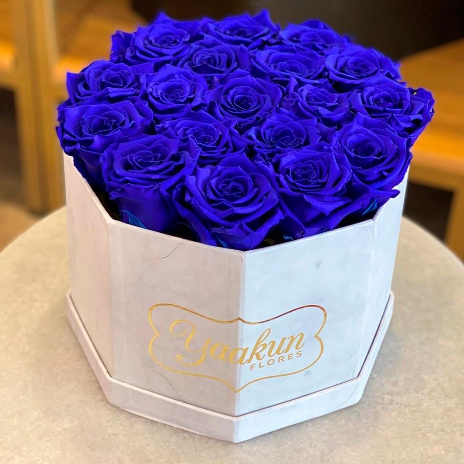 Rosas eternas en caja octagonal rosas azules