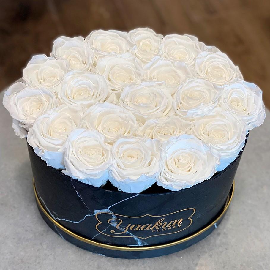 Rosas eternas en caja ovalada negra rosas