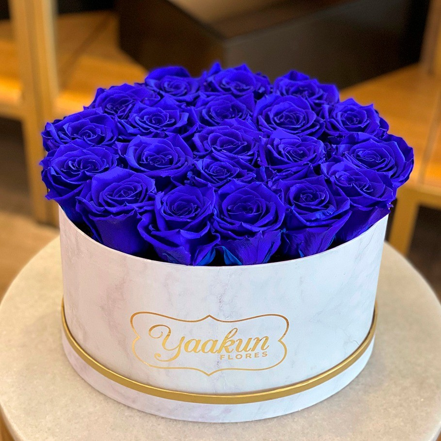 Rosas eternas en caja ovalada rosas azules